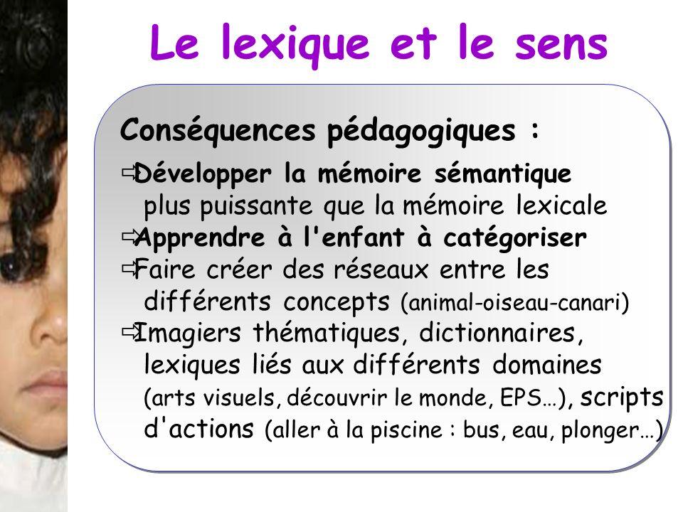 Le lexique et le sens Conséquences pédagogiques :
