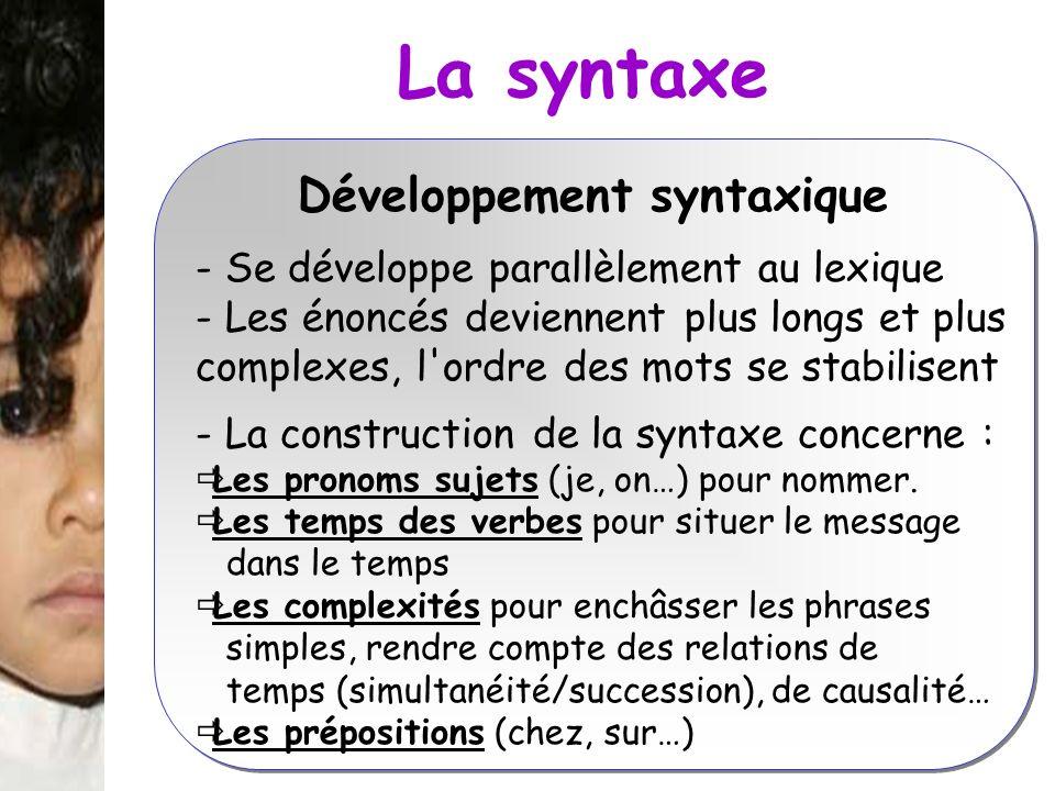 La syntaxe Développement syntaxique