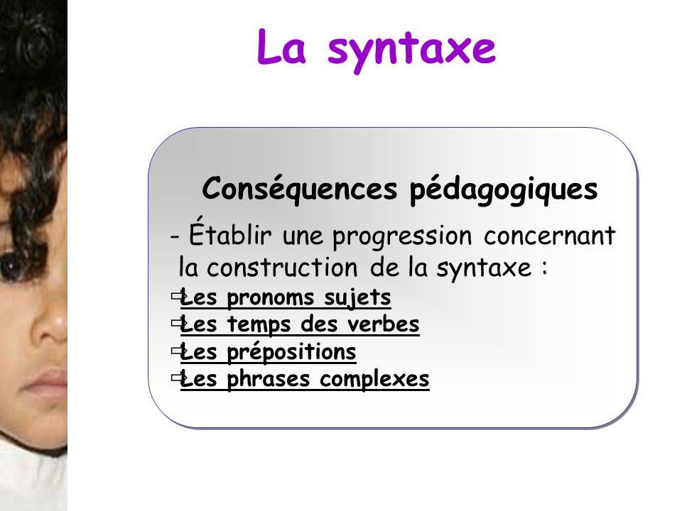 La syntaxe Conséquences pédagogiques
