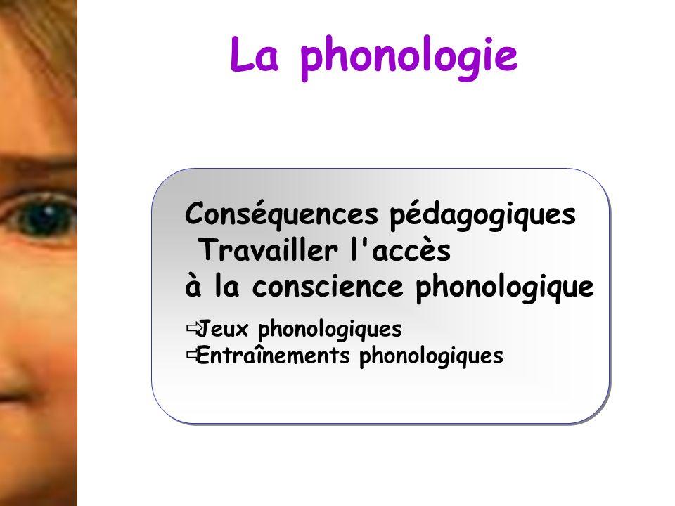 La phonologie Conséquences pédagogiques Travailler l accès