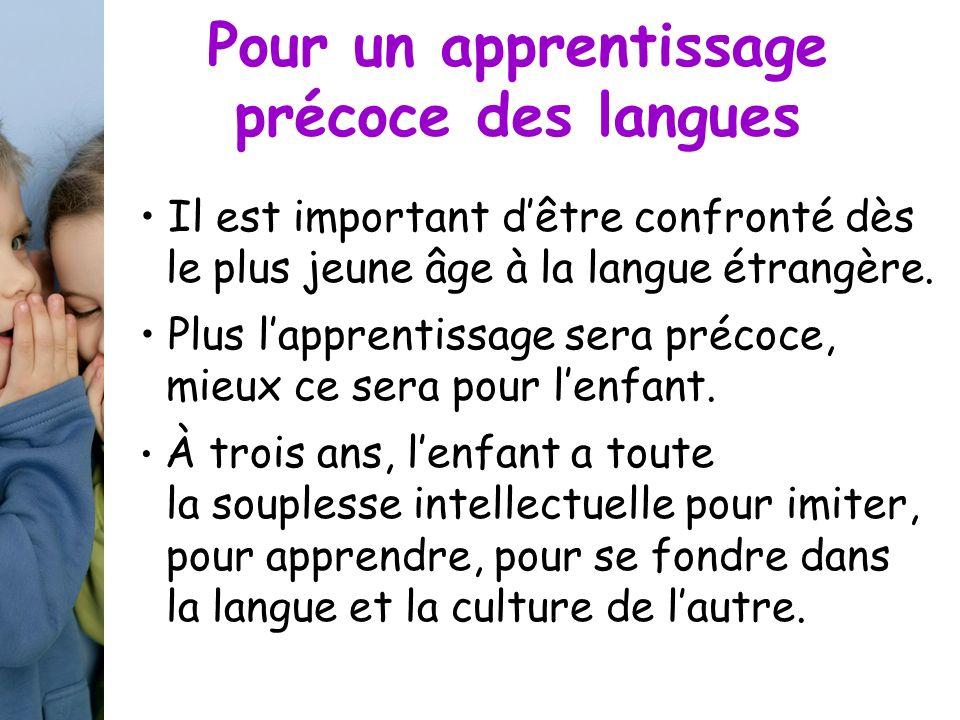 Pour un apprentissage précoce des langues