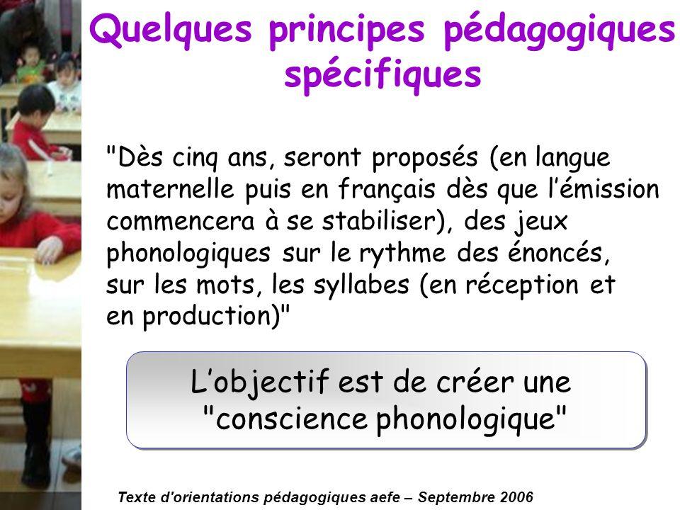 Quelques principes pédagogiques spécifiques