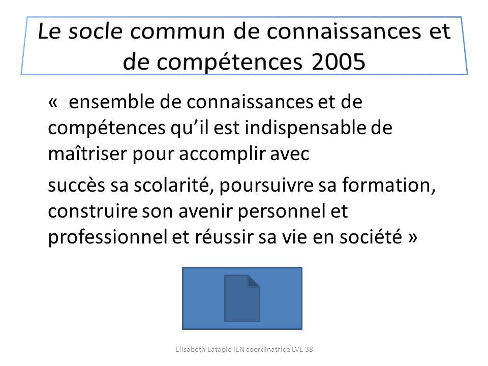 Le socle commun de connaissances et de compétences 2005