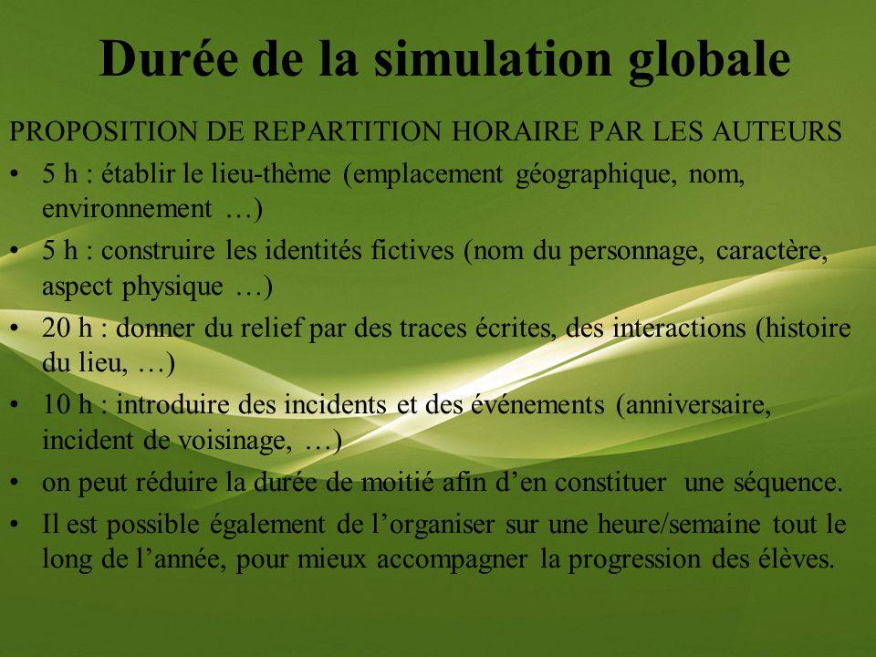 Durée de la simulation globale