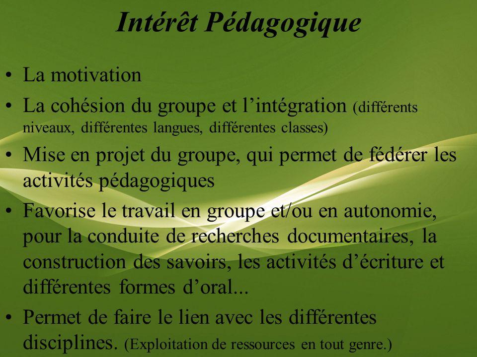 Intérêt Pédagogique La motivation