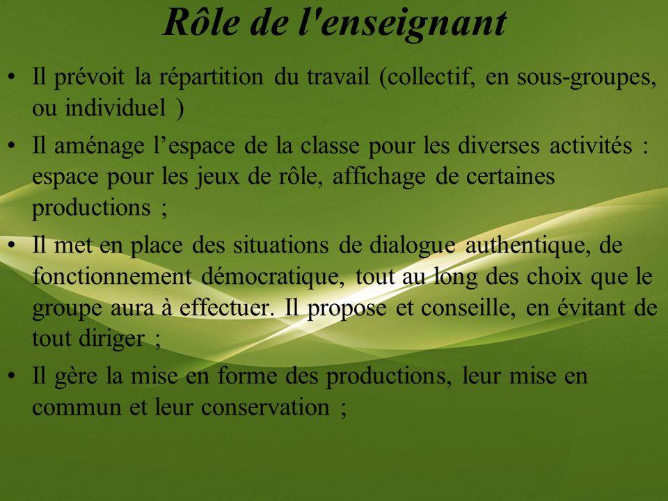 Rôle de l enseignant Il prévoit la répartition du travail (collectif, en sous-groupes, ou individuel )