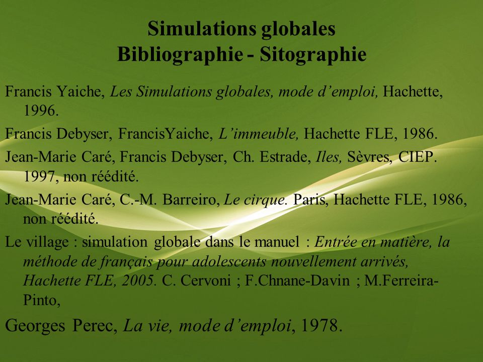 Simulations globales Bibliographie - Sitographie