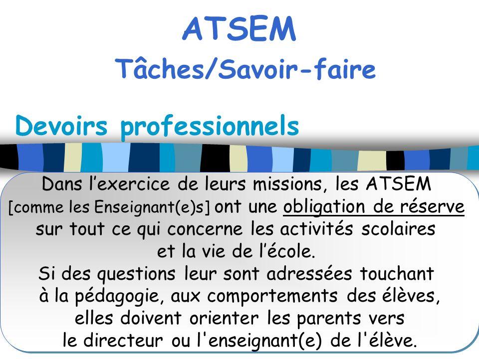 ATSEM Tâches/Savoir-faire