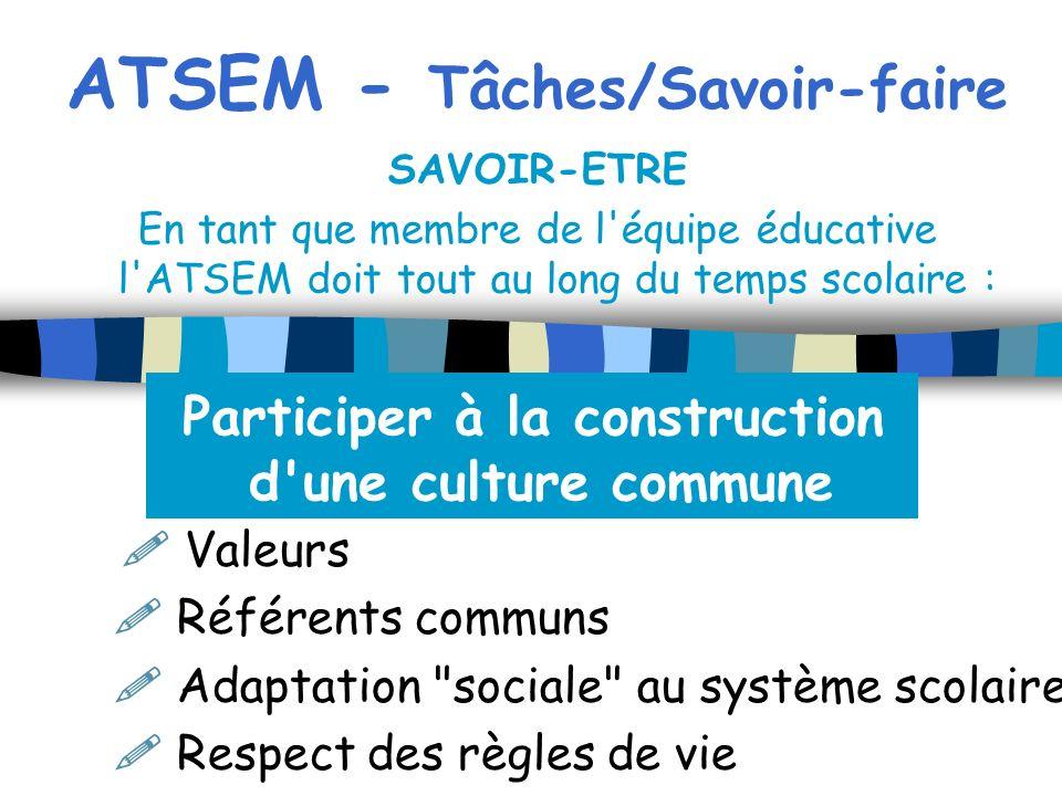 ATSEM - Tâches/Savoir-faire