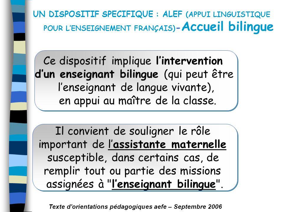UN DISPOSITIF SPECIFIQUE : ALEF (APPUI LINGUISTIQUE POUR L'ENSEIGNEMENT FRANÇAIS)-Accueil bilingue