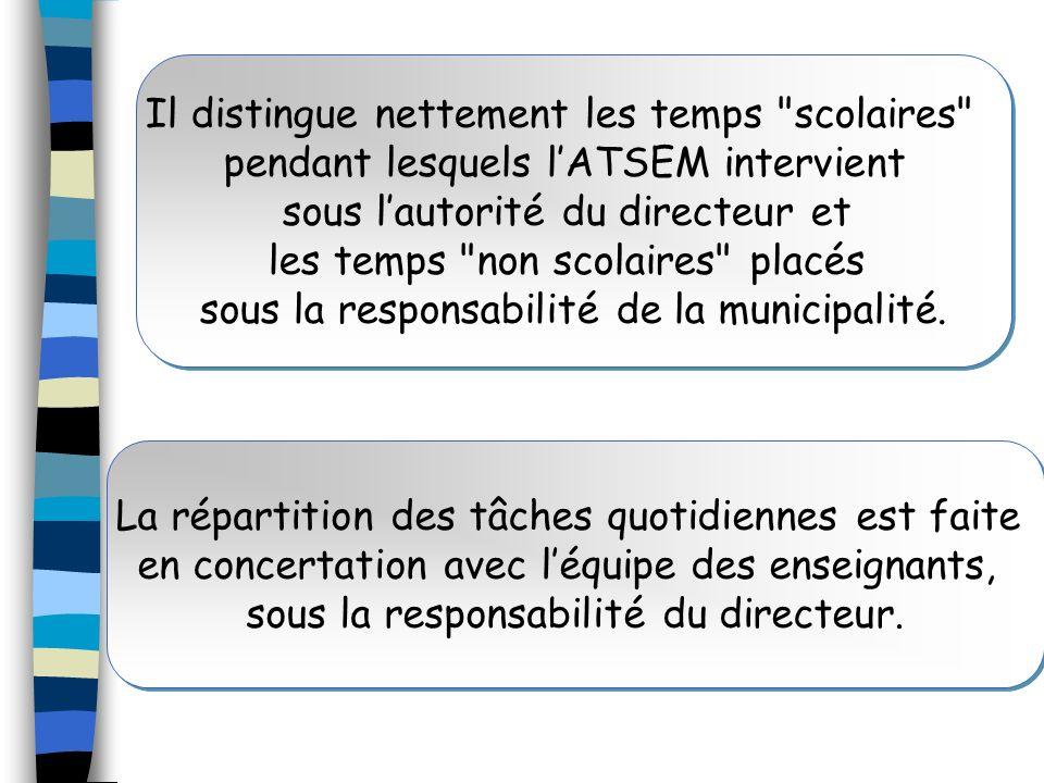 Il distingue nettement les temps scolaires pendant lesquels l'ATSEM intervient sous l'autorité du directeur et les temps non scolaires placés sous la responsabilité de la municipalité.