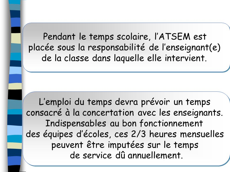 Pendant le temps scolaire, l'ATSEM est placée sous la responsabilité de l'enseignant(e) de la classe dans laquelle elle intervient.