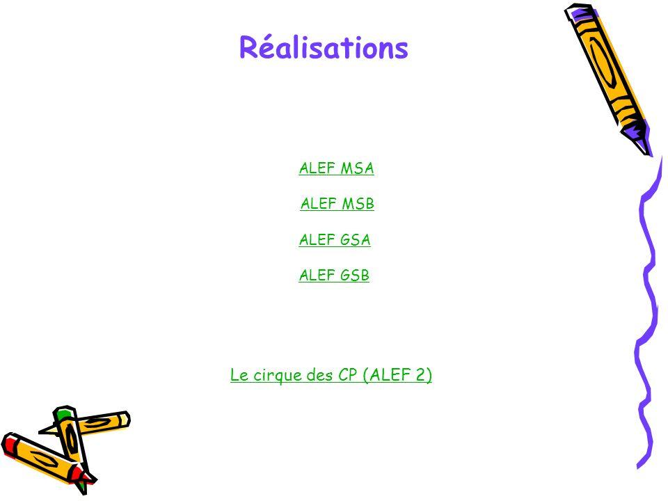 Réalisations Le cirque des CP (ALEF 2) ALEF MSA ALEF MSB ALEF GSA
