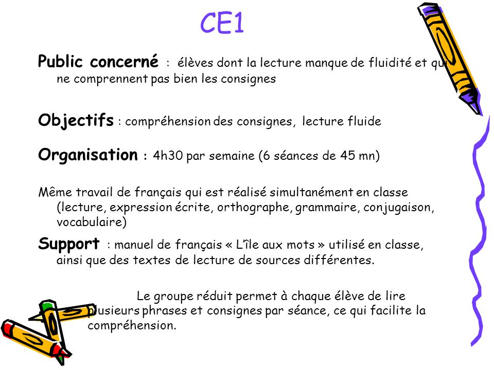 CE1 Public concerné : élèves dont la lecture manque de fluidité et qui ne comprennent pas bien les consignes.