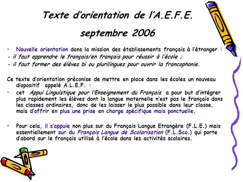Texte d'orientation de l'A.E.F.E. septembre 2006