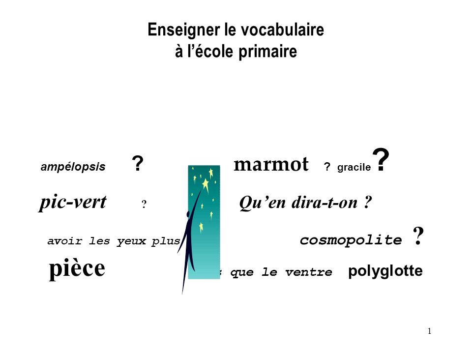 Enseigner le vocabulaire à l'école primaire