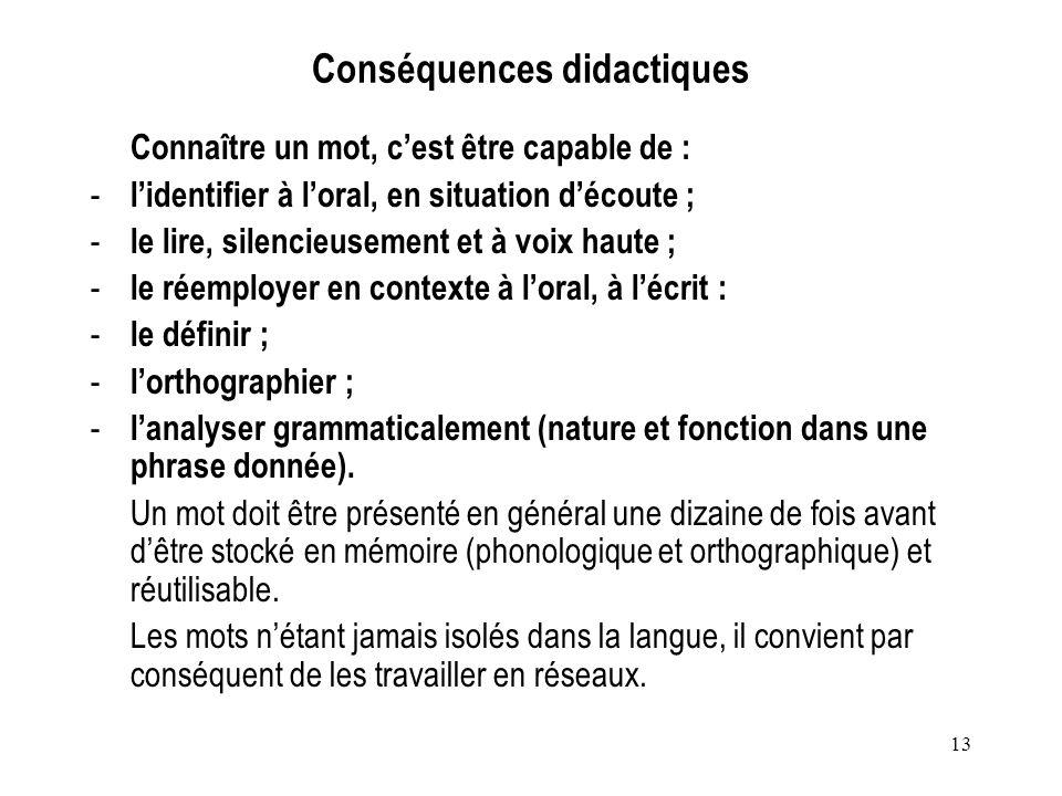 Conséquences didactiques