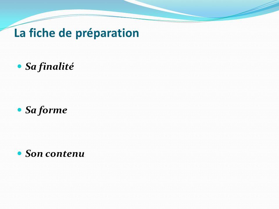 La fiche de préparation