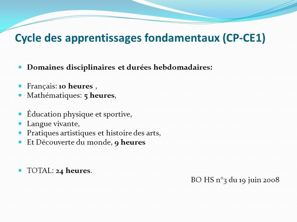 Cycle des apprentissages fondamentaux (CP-CE1)