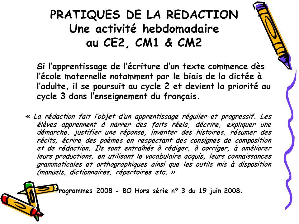 PRATIQUES DE LA REDACTION Une activité hebdomadaire au CE2, CM1 & CM2