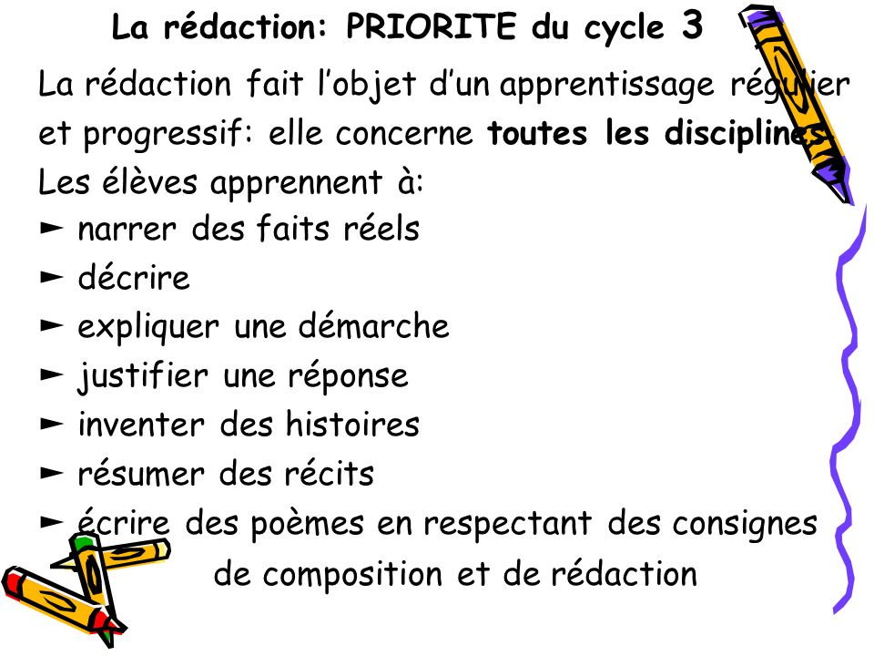 La rédaction: PRIORITE du cycle 3