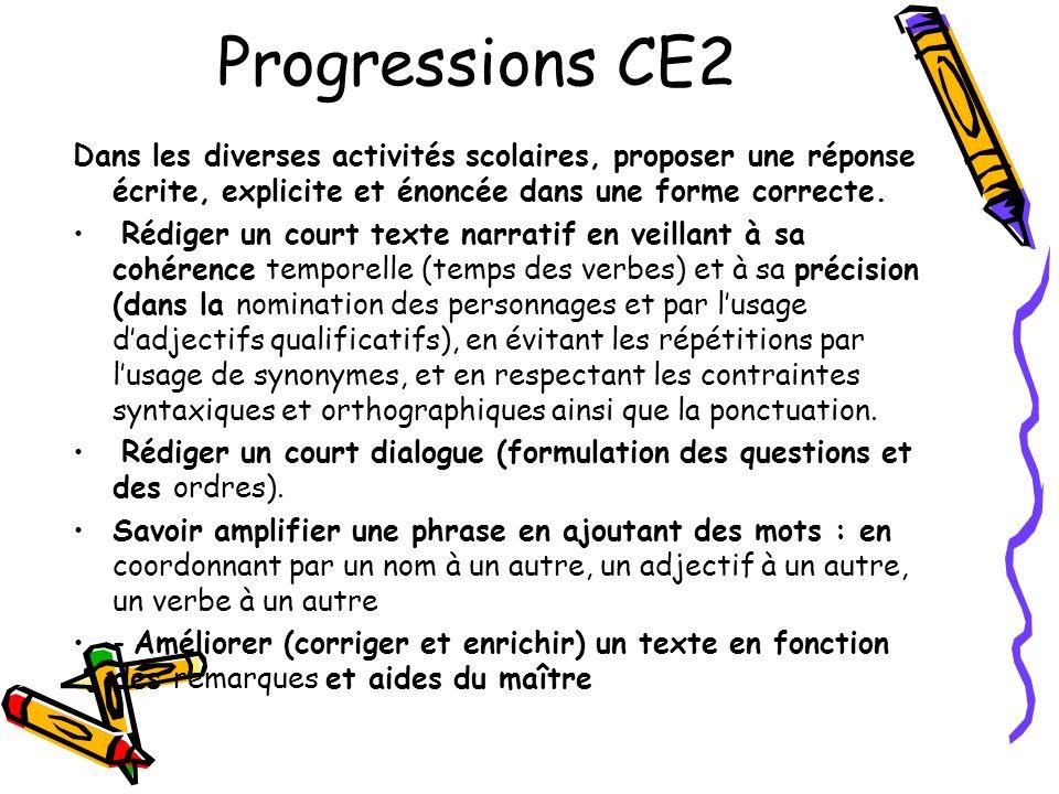 Progressions CE2Dans les diverses activités scolaires, proposer une réponse écrite, explicite et énoncée dans une forme correcte.