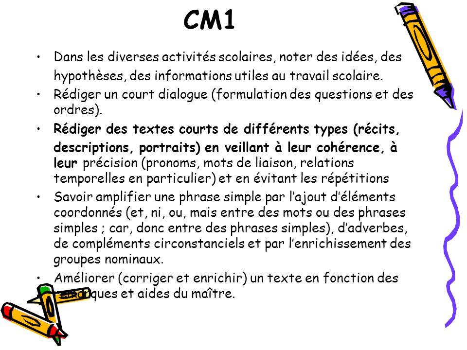 CM1 Dans les diverses activités scolaires, noter des idées, des