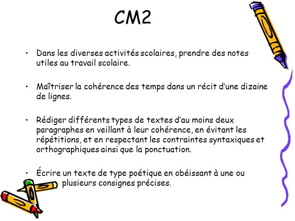 CM2 Dans les diverses activités scolaires, prendre des notes utiles au travail scolaire.
