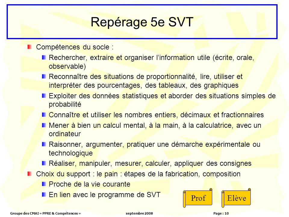 Repérage 5e SVT Prof Elève Compétences du socle :