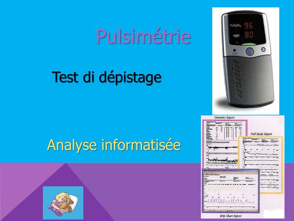 Pulsimétrie Test di dépistage Analyse informatisée