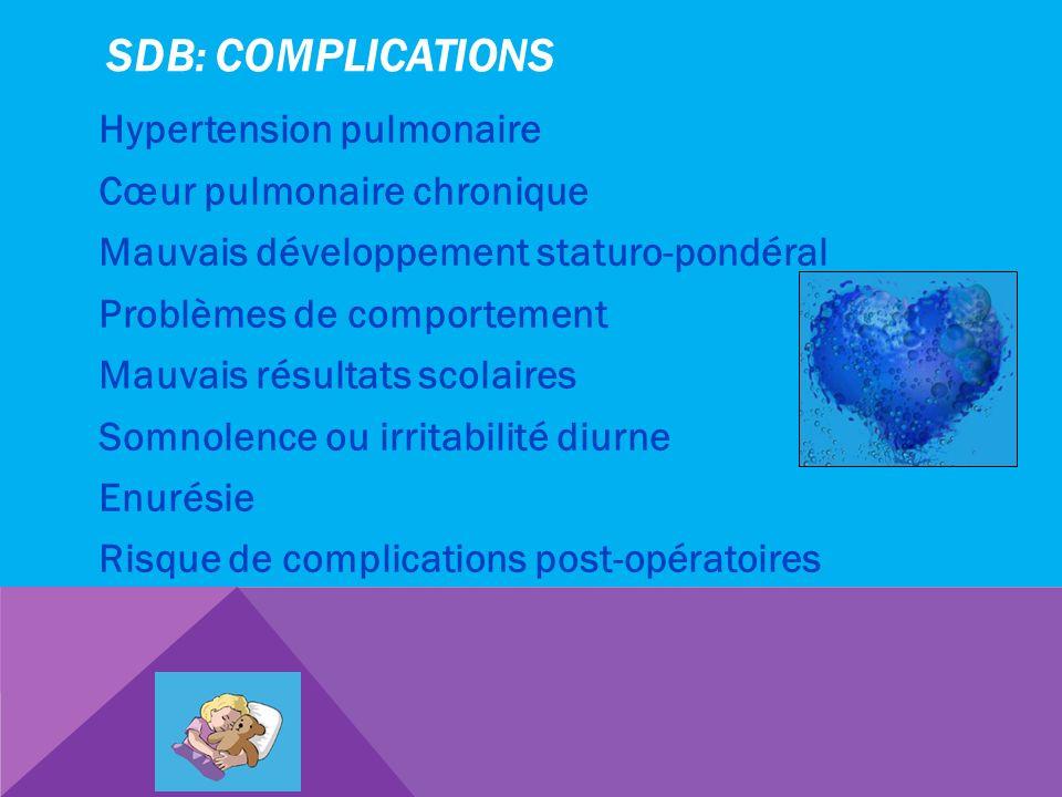 SDB: COMPLICATIONS Hypertension pulmonaire Cœur pulmonaire chronique