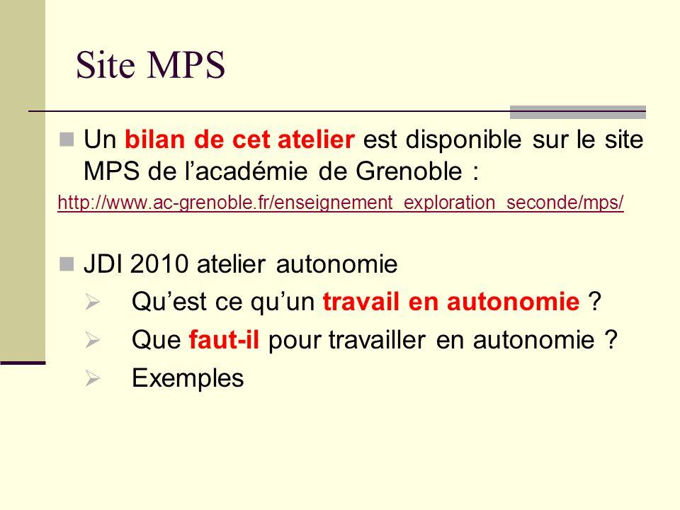 Site MPS Un bilan de cet atelier est disponible sur le site MPS de l'académie de Grenoble :