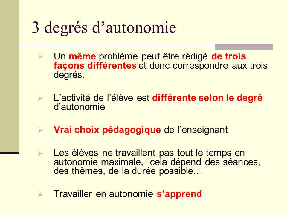 3 degrés d'autonomie Un même problème peut être rédigé de trois façons différentes et donc correspondre aux trois degrés.