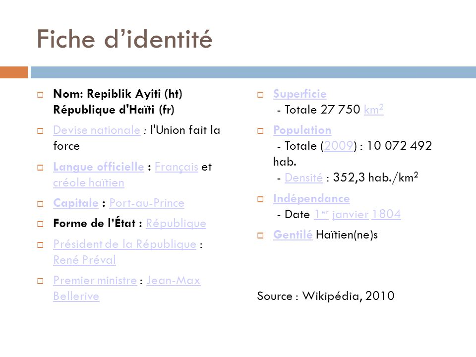 Fiche d'identité Nom: Repiblik Ayiti (ht) République d Haïti (fr)