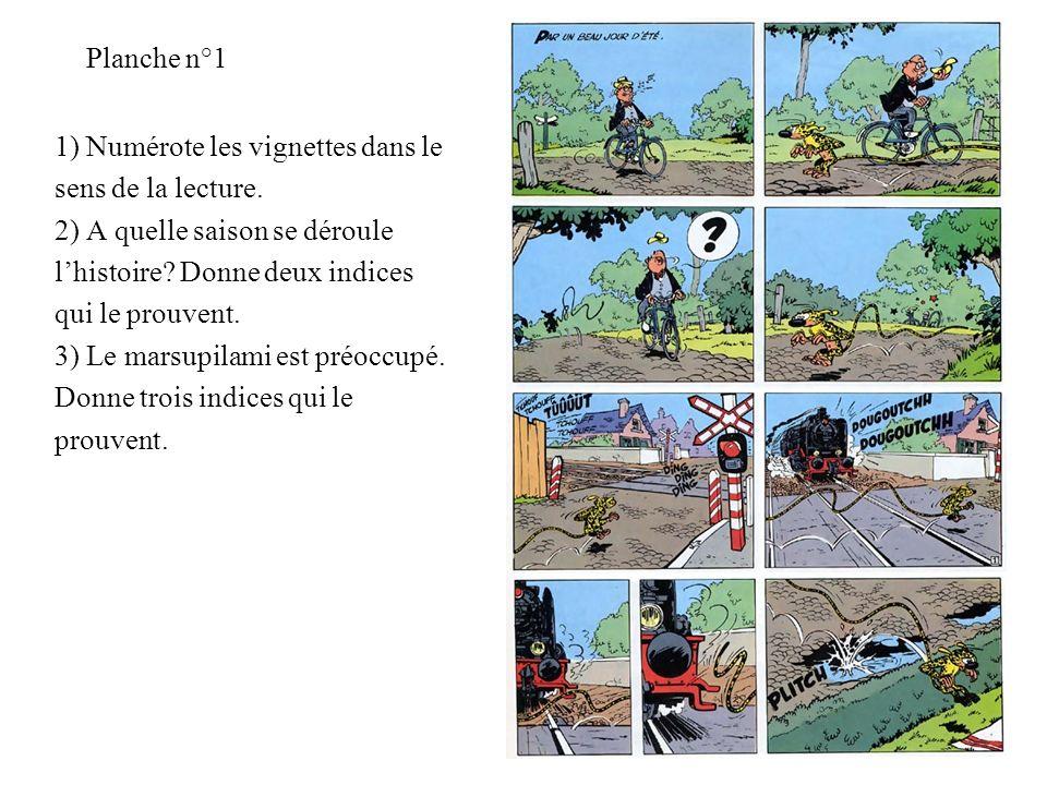 Planche n°1 1) Numérote les vignettes dans le. sens de la lecture. 2) A quelle saison se déroule.