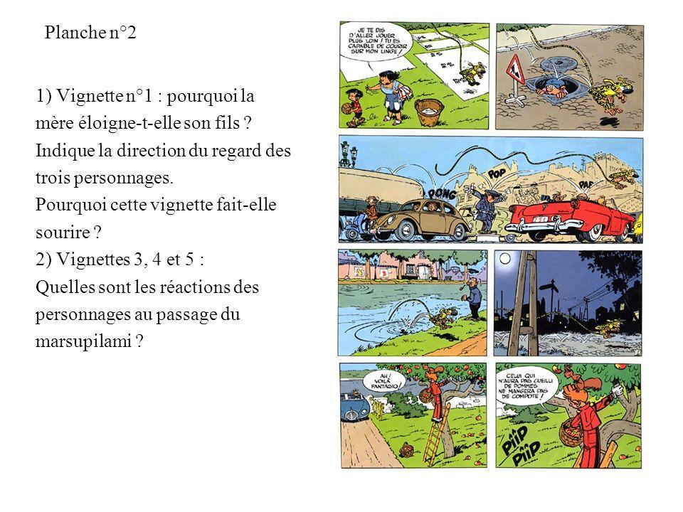 Planche n°2 1) Vignette n°1 : pourquoi la. mère éloigne-t-elle son fils Indique la direction du regard des.