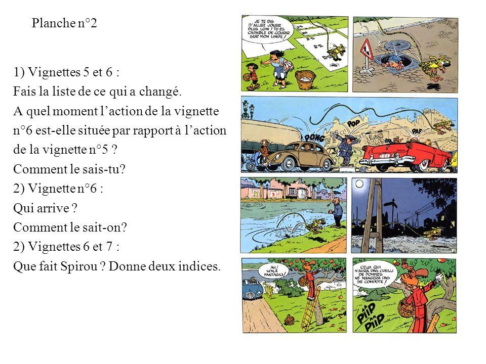Planche n°2 1) Vignettes 5 et 6 : Fais la liste de ce qui a changé. A quel moment l'action de la vignette.