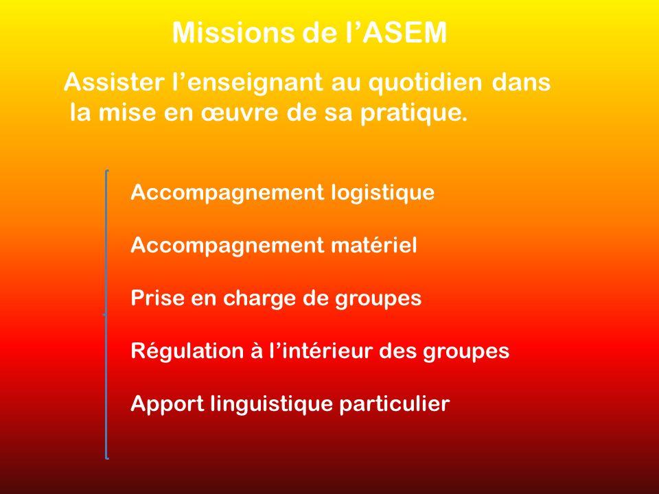 Missions de l'ASEM Assister l'enseignant au quotidien dans