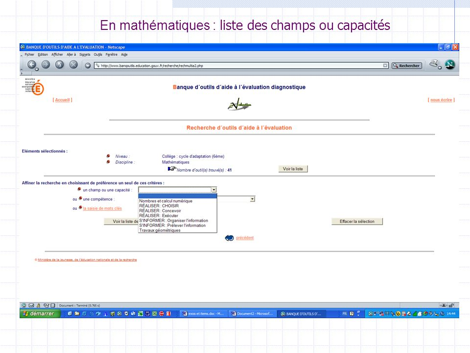 En mathématiques : liste des champs ou capacités