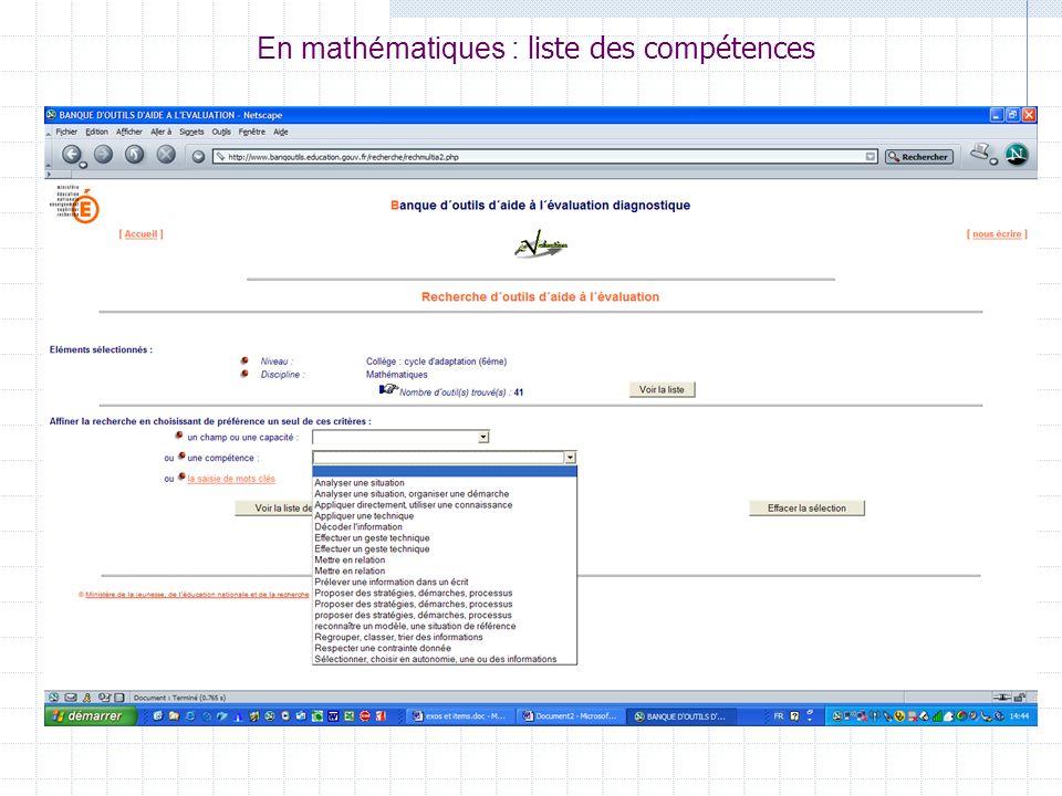 En mathématiques : liste des compétences
