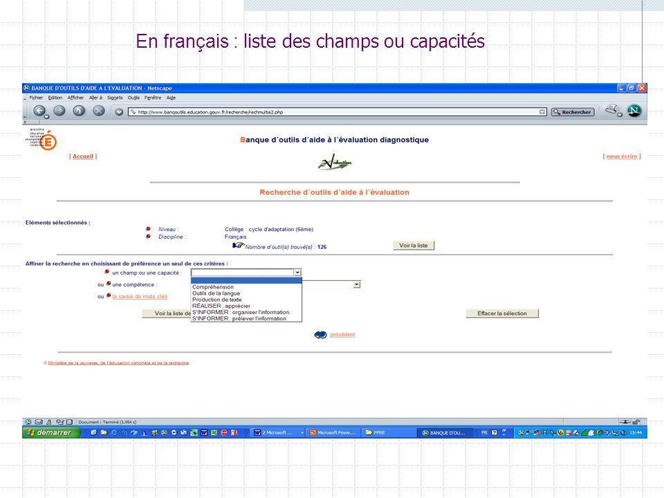 En français : liste des champs ou capacités