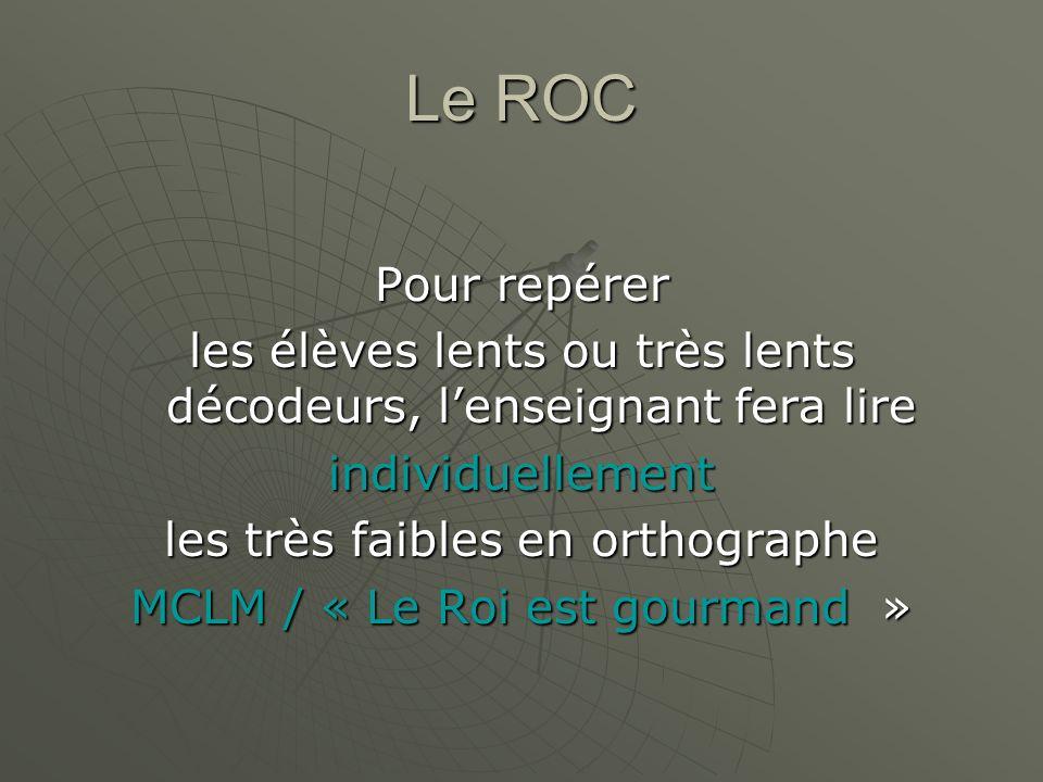 Le ROC Pour repérer. les élèves lents ou très lents décodeurs, l'enseignant fera lire. individuellement.