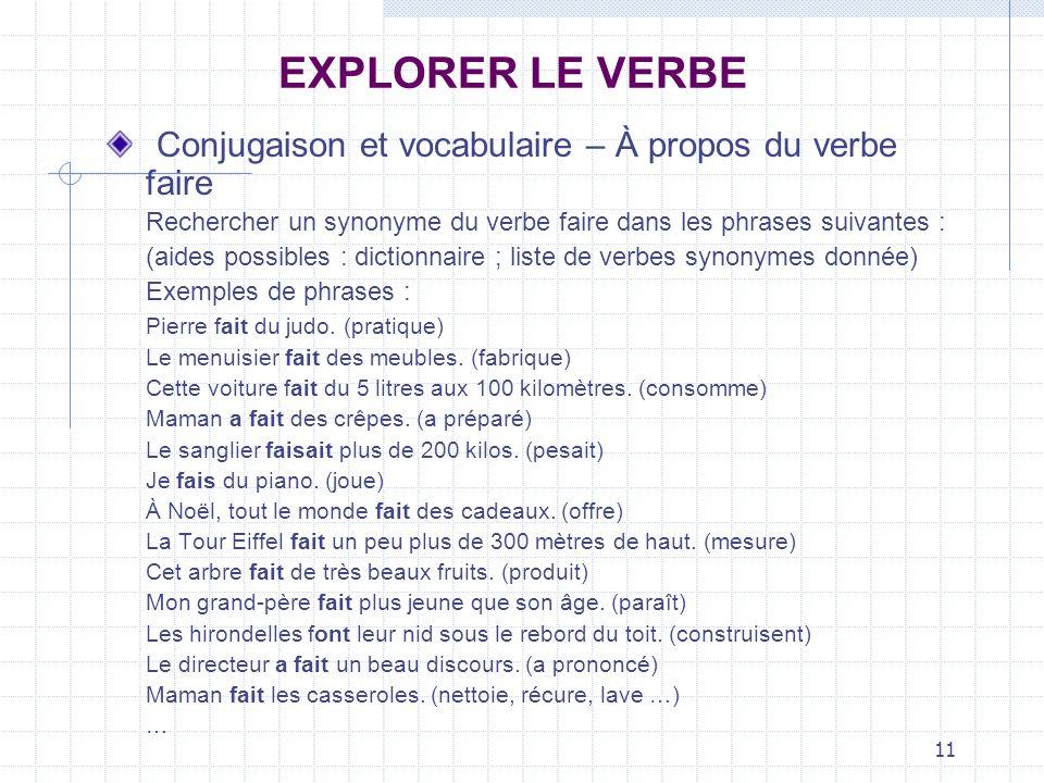 EXPLORER LE VERBE Conjugaison et vocabulaire – À propos du verbe faire