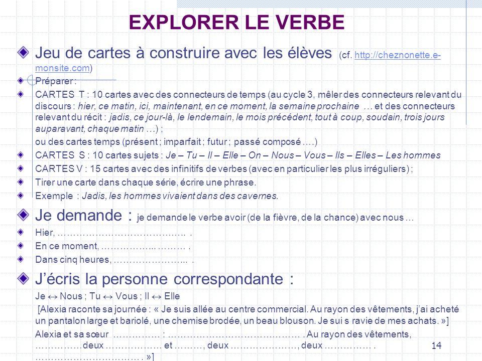 EXPLORER LE VERBEJeu de cartes à construire avec les élèves (cf. http://cheznonette.e-monsite.com) Préparer :