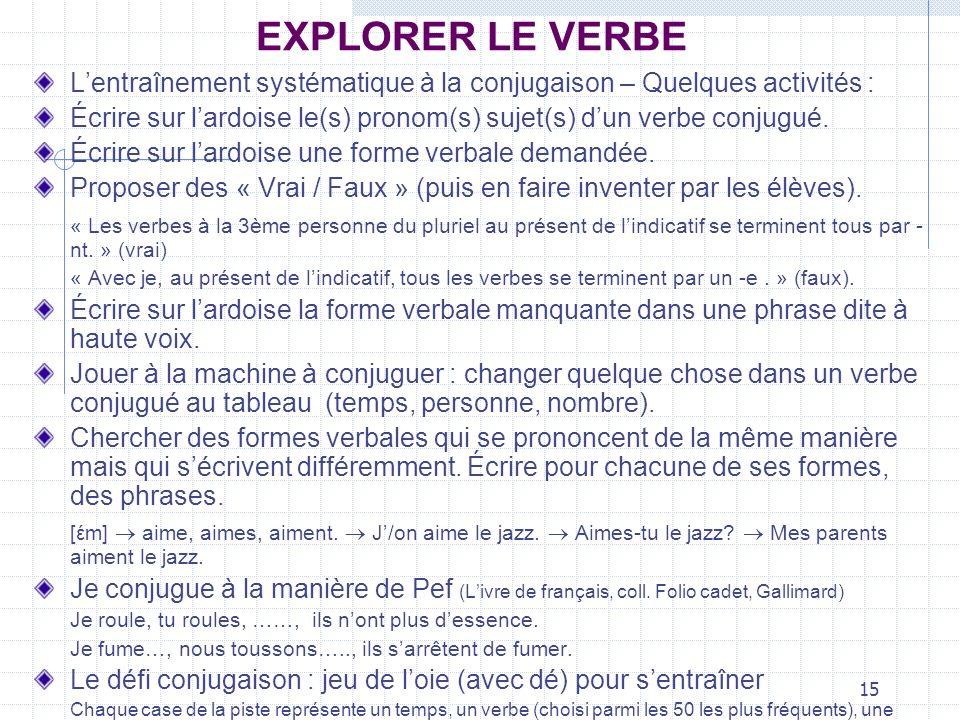 EXPLORER LE VERBEL'entraînement systématique à la conjugaison – Quelques activités :