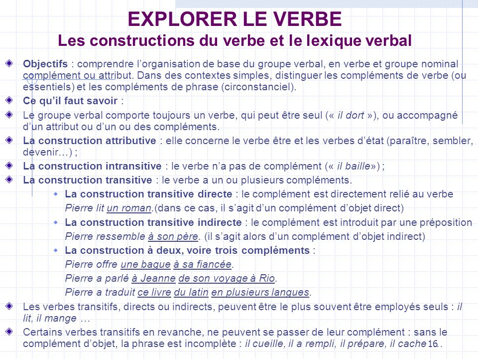 EXPLORER LE VERBE Les constructions du verbe et le lexique verbal