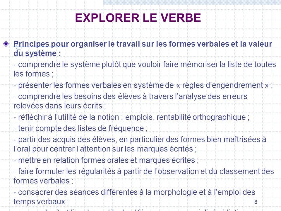 EXPLORER LE VERBEPrincipes pour organiser le travail sur les formes verbales et la valeur du système :