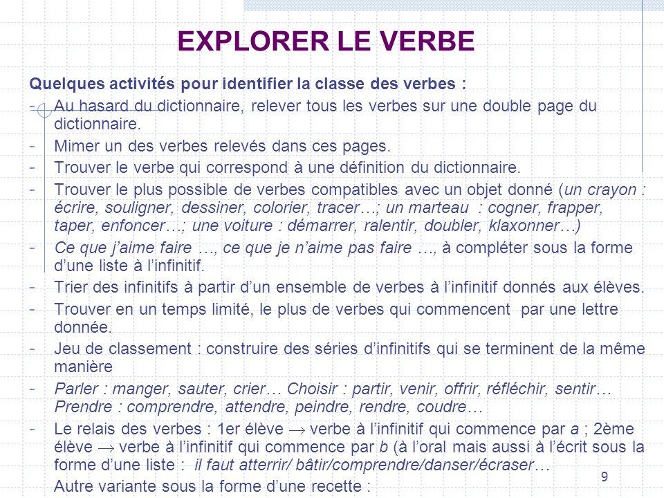 EXPLORER LE VERBEQuelques activités pour identifier la classe des verbes :