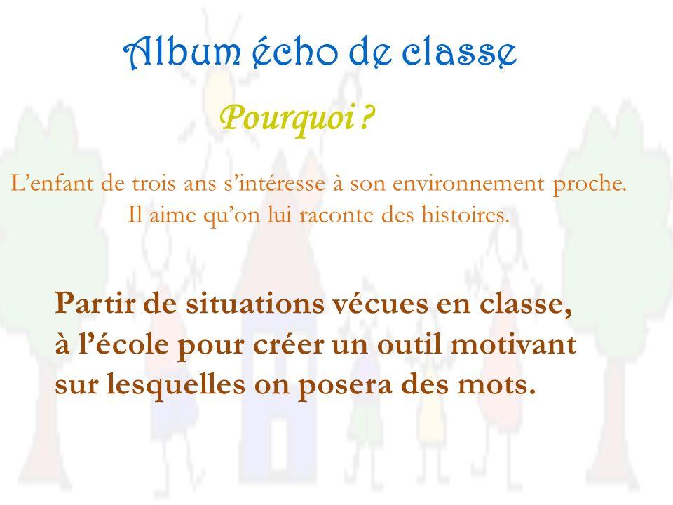 Album écho de classe Pourquoi Partir de situations vécues en classe,