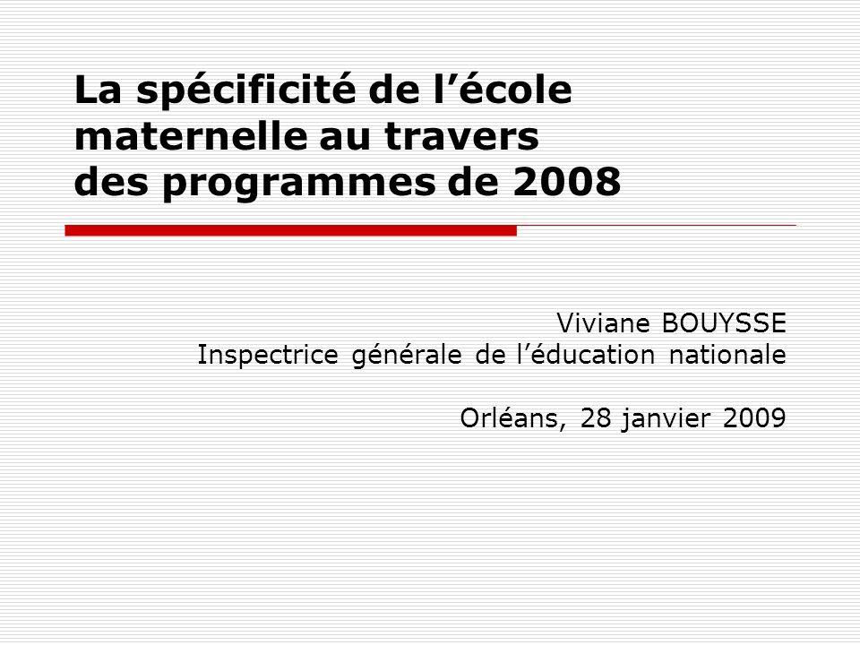 La spécificité de l'école maternelle au travers des programmes de 2008